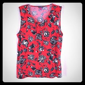 VINCE CAMUTO Red Floral Sleeveless Lace Up Top XL
